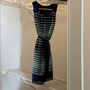 Navy and mint stripped chiffon dress